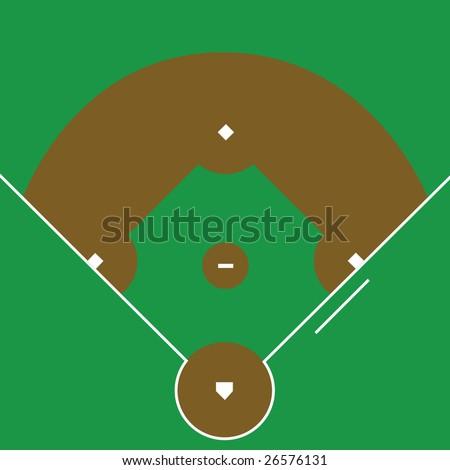 Jpeg illustration of an overhead view of a baseball diamond - stock photo