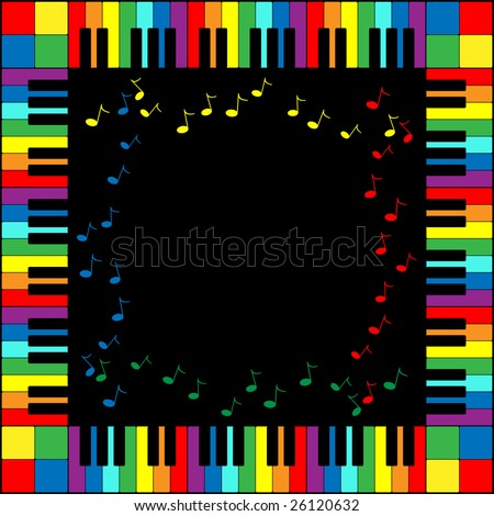 Jpeg illustration of piano keyboard frame in rainbow colors. - stock photo