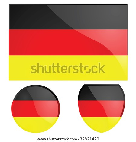 Jpeg illustration of the German flag, alongside a round and shield emblems