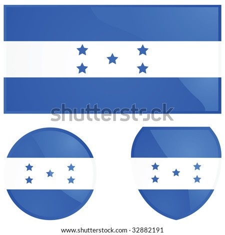 Jpeg illustration of the Honduras flag, alongside a round and shield emblems