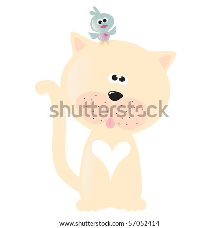 Jpeg Isolated cat and bird