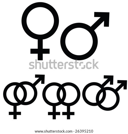 Jpeg male and female icon signs presented separately, as well as together to symbolize  different types of relationship