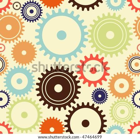 JPEG / Raster version of seamless turning cogwheels or gears. happy colors - stock photo