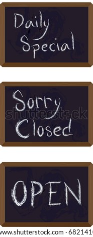 JPEG Restaurant, store front Chalkboard - stock photo