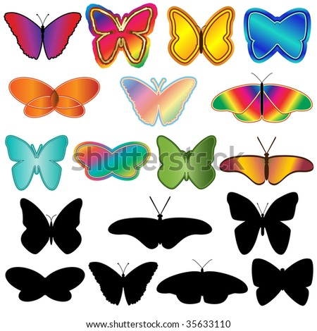 Jpeg set of isolated butterfly elements with silhouettes.