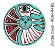 jpeg symbolic bird design in pacific northwest native style. - stock photo