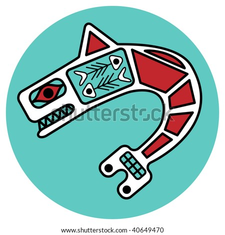 jpeg symbolic design in pacific northwest native style. - stock photo