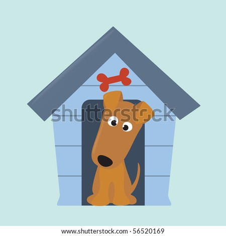 jpeg terrier pup and new dog house - stock photo