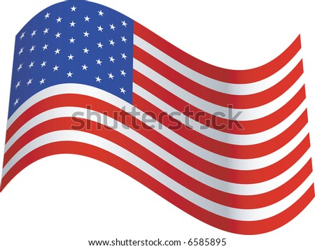 JPEG - United States of America Flag Blowing in the Breeze - stock photo