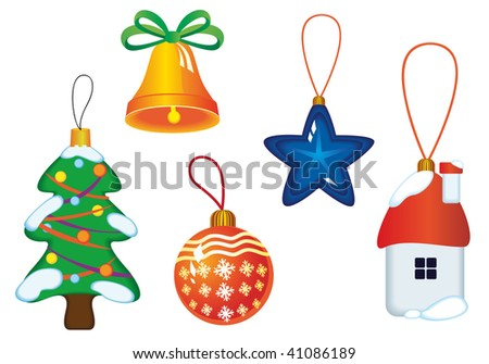 Jpeg version. Christmas icons and symbols for design isolated on white