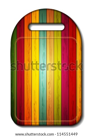 Jpeg version. colorful wooden cutting board on white background. - stock photo