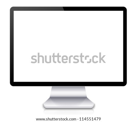 Jpeg version.  computer display or tv isolated on white background. - stock photo