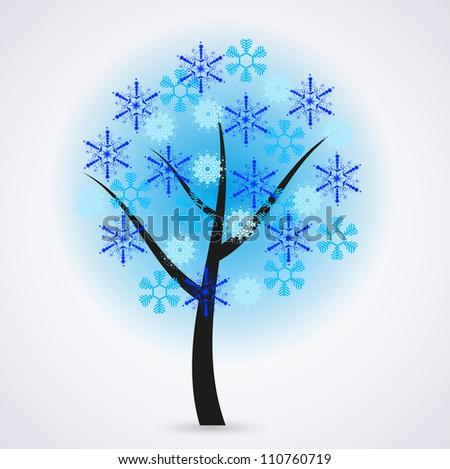 Jpeg version. Creative snowflakes tree on gray background - stock photo