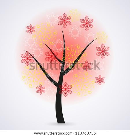 Jpeg version. Creative snowflakes tree on gray background. illustration - stock photo