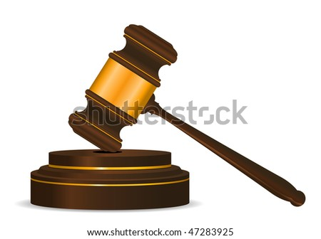 Jpeg version. Gavel symbol as a concept of law or auction. Vector version is also available - stock photo