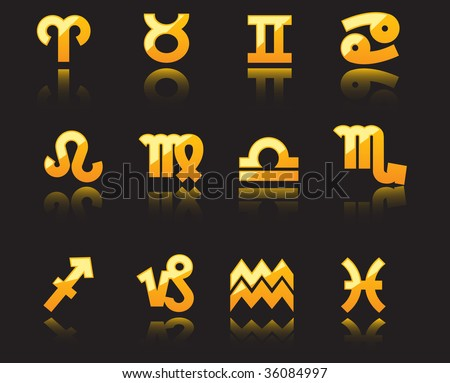 JPEG version. Glossy symbols of horoscope - stock photo