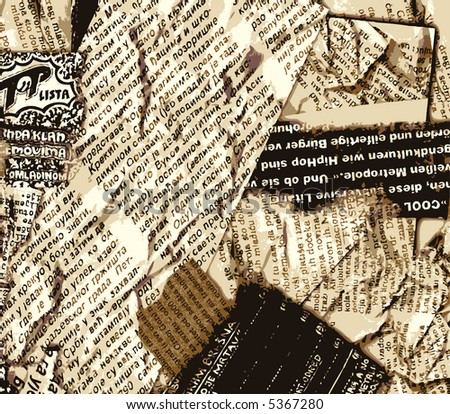 JPEG version. Grunge old newspaper. - stock photo
