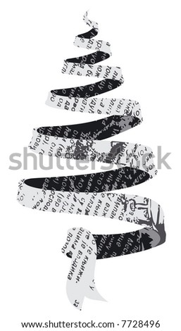 Jpeg version. Newspaper Christmas tree, black and white - stock photo