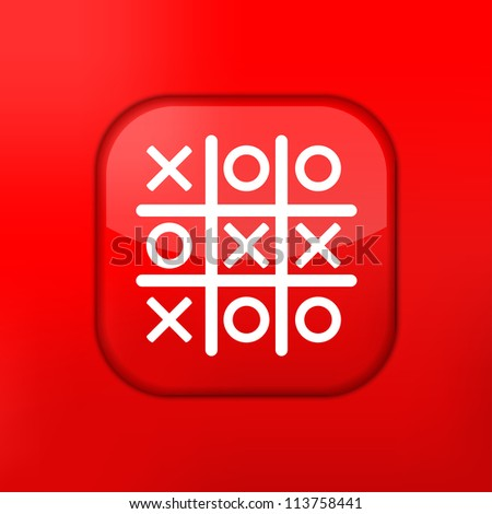 Jpeg version.  red Tic tac toe icon - stock photo