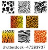 Jpeg version. Set of animal fur and skin patterns for design. Vector version is also available - stock vector