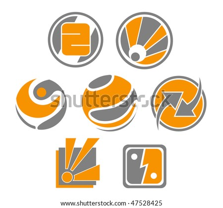 Jpeg version. Set of different abstract symbols for design or logo template. Vector  version is also available - stock photo