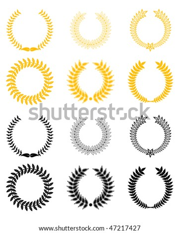 Jpeg version. Set of gold and black laurel wreaths. Vector version is also available - stock photo
