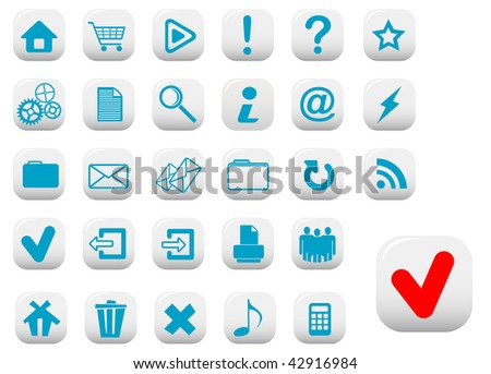 Jpeg version. Set of web buttons with blue symbols for design