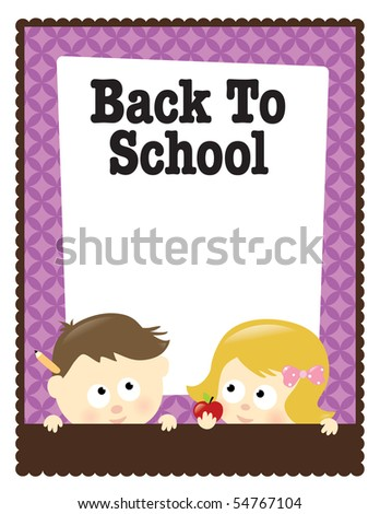 JPEG 8.5x11 Back To School flyer (boy and girl) - stock photo