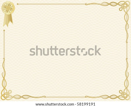 jpg: Certificate of Completion Template; (a vector with sample text is also available) - stock photo
