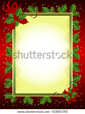 JPG Christmas frame with holly - stock photo