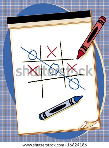 jpg  Drawing paper with crayons and tic-tac-toe game. Add your own game or drawings. - stock photo