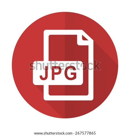 jpg file red flat icon   - stock photo