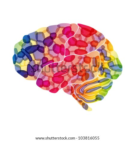 jpg, human brain, colorful thoughts, abstract background - stock photo
