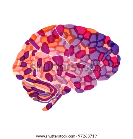 jpg, human brain, purple fantasy, abstract background - stock photo