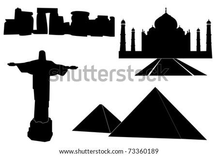 JPG illustration of black set of main world monuments. - stock photo