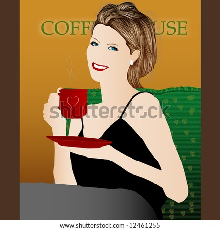 JPG. Image Of A Woman In A Cafe