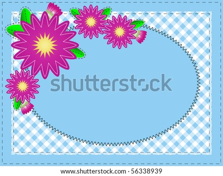 Jpg, Oval blue copy space with pink zinnia or mums, edged with gingham and accent quilt stitching. - stock photo