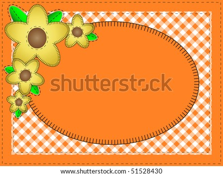 Jpg.  Oval orange copy space with gingham matting, quilting stitches and yellow flowers. - stock photo