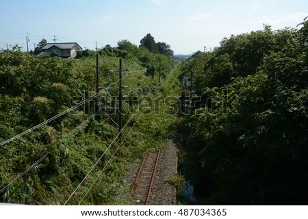 JR Joban line railway, which was abandoned in Tomioka, Fukushima on 21th September 2013 / Abandoned railway in Fukushima