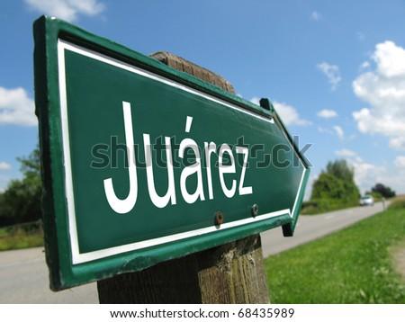 JUAREZ signt along a rural road - stock photo