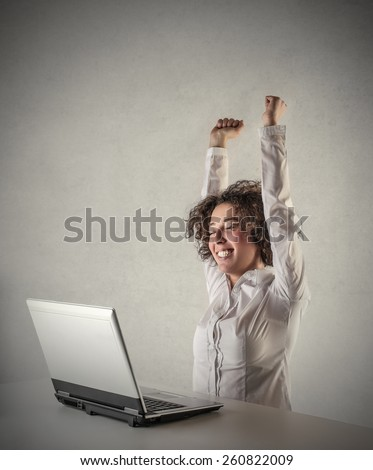Jubilating manager  - stock photo