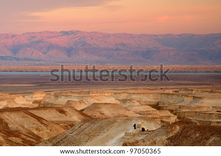 Judaean Desert in Israel and the West Bank looking towards Jordan over the Dead Sea. - stock photo