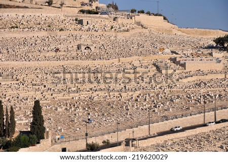 Judaic graves on the holy Mt of Olives and panoramic view over Jerusalem, Israel  - stock photo