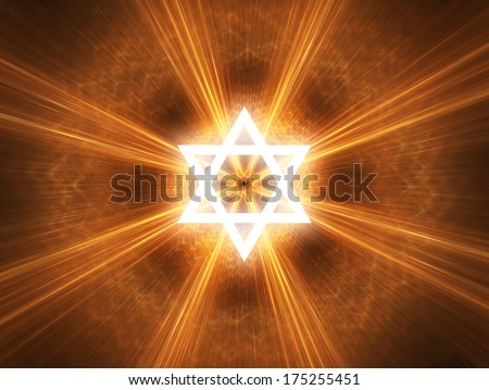 Judaism religious symbol - Star of David. - stock photo