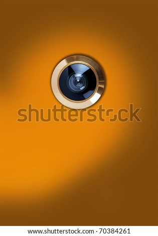 judas hole, door viewer - stock photo