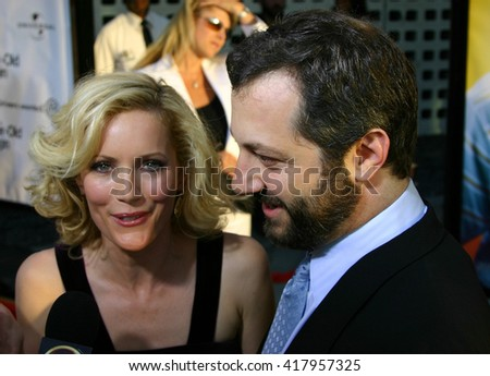 "Judd Apatow and Leslie Mann at the Los Angeles premiere of ""The 40 Year-Old Virgin"" held at the ArcLight Theatre in Hollywood, USA on August 11, 2005."