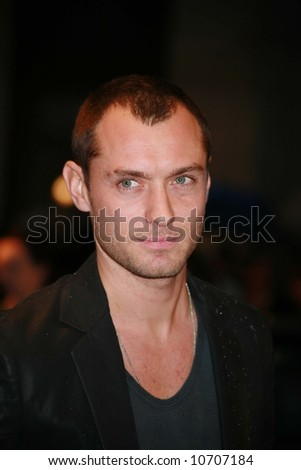 Jude Law attends the UK Premiere of Sleuth  at the Odeon West End, London. - stock photo