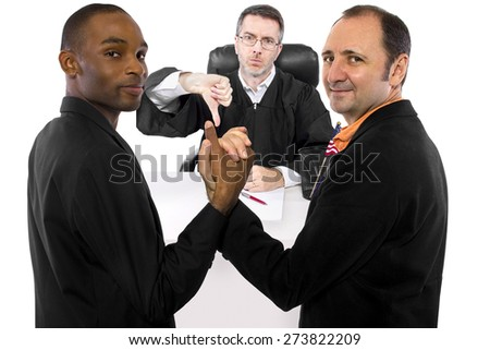 Judge against legalization of same sex marriage but gay couple looks resilient. People in this photo are models/actors and may have independent political or religious beliefs than depicted. - stock photo