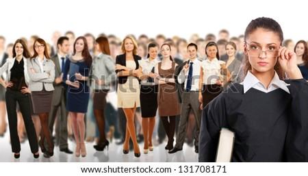 judge and group business people - stock photo
