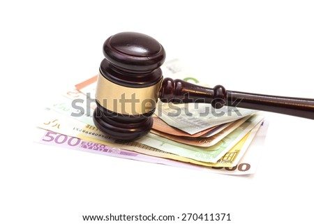 Judge gavel and euro banknotes isolated - stock photo